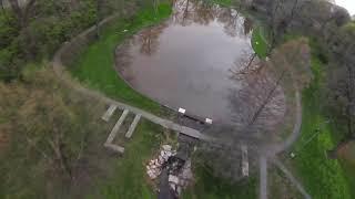 DJI FPV explores pond in Pennsylvania. 4K