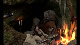 The Cave - 3 Days Solo Bushcraft, Camping In Natural Shelter, Old School Skills, Minimal Gear.