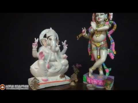 SOLD Seated White Marble Ganesha Statue 23