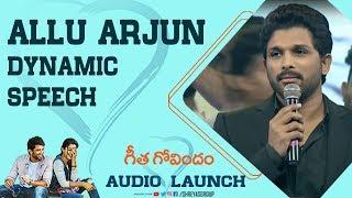 Allu Arjun Dynamic Speech @Geetha Govindam  Audio Launch |Allu Arjun