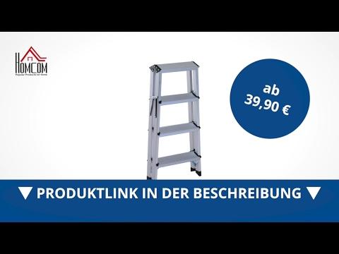 Homcom Trittleiter Aluleiter Klapptritt 4 Stufen - direkt kaufen!