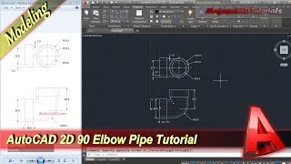 Autocad Classes 2D Modeling 90 Elbow Pipe Tutorial Practice Exercise 26
