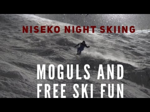 Niseko night skiing-moguls and free skiing fun