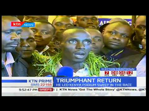 Lawrence Cherono who won the  Amsterdam Marathon receives a heroic welcome in Eldoret