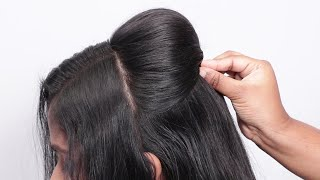 Beautiful & Simple Hairstyle For Beginners   Puff Loose Hair Hairstyle   Party Hairstyles Thin Hair