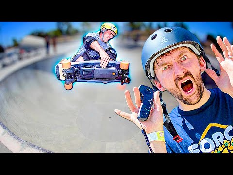BOOSTED ELECTRIC BOARD VS 15 FOOT BOWL?!
