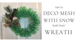 Dollar Tree Snow Mesh Christmas Wreath DIY