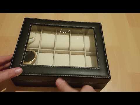 PRASACCO Uhrenbox für 10 Uhren mit Glasdeckel PU Leder