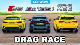[carwow] Audi S3 v BMW M135i v AMG A35 - DRAG RACE