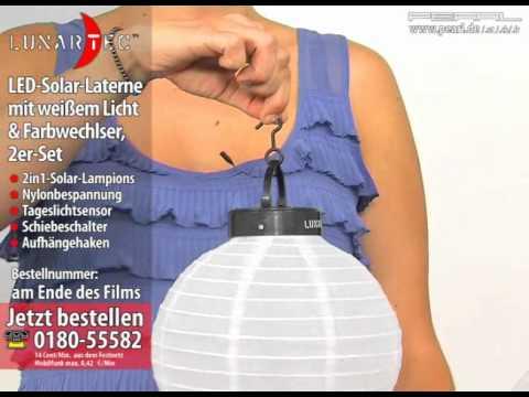 Lunartec LED-Solar-Laterne mit weißem Licht & Farbwechlser, 2er-Set