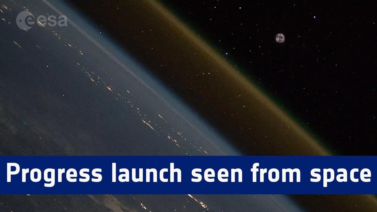 #Видео   Грузовой корабль «Прогресс МС-10» покидает Землю