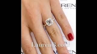 1.54 Ct Cushion Cut Diamond Two-Tone Halo Ring
