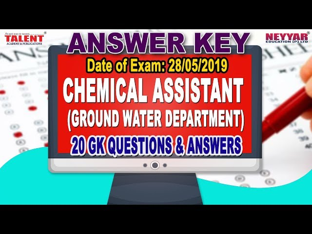 Kerala PSC Exam (28-05-2019) Chemical Assistant Ground Water Department