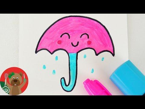 كيفية رسم شمسية | تعليم الرسم للأطفال