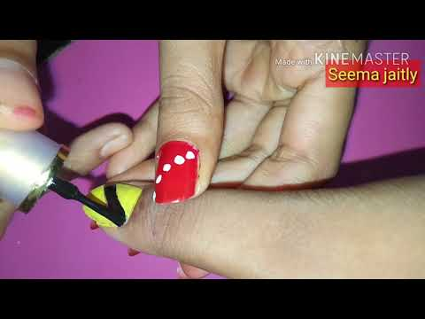 Nail Art At Home Very Easy & Cool/Unique Nail Art To Try At Home/ नेल पालिश कैसे लगाये/Seema Jaitly