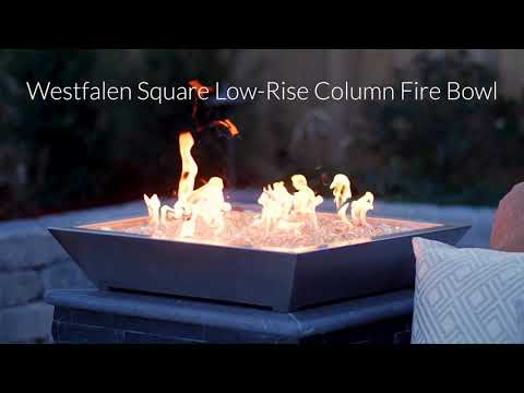 BBQGuys Signature Series Westfalen Square Low-Rise Column Fire Bowl - Stainless Steel