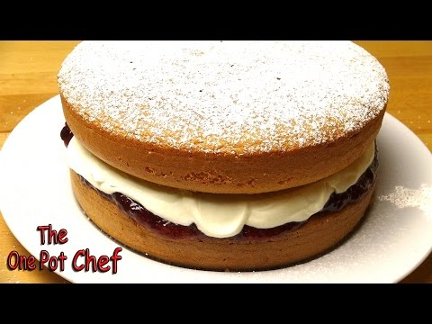 Video Sponge Cake with Jam and Cream | One Pot Chef