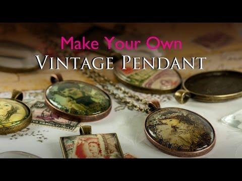 Make Your Own Vintage pendant - Glass Tile Tray Vintage Jewellery Kit