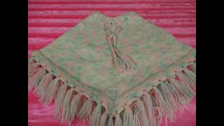 Very Easy and Simple Knitted Baby Poncho for 1-2 yrs boy or girl