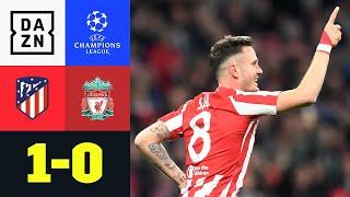 Saul schockt Jürgen Klopp und seine Reds früh: in der 4. Minute bringt er Atletico Madrid in Führung. Liverpool kann sich vom frühen Schock nicht erholen und so bleibt es am Ende in einer chancenarmen Partie beim 1:0-Sieg der Gastgeber.   ►Sichere dir deinen Gratismonat: https://bit.ly/2MY3pxi ►Alle Infos zur UEFA Champions League: https://bit.ly/2GD8lqf ►Das Programm von DAZN: http://bit.ly/2uFkulD ►DAZN auch auf Facebook: https://bit.ly/2lUGipo  +++ Die besten Fußball Highlights aus allen Wettbewerben auf YouTube +++ ►DAZN UEFA Champions League auf YouTube abonnieren: https://bit.ly/2WL75qD  ►DAZN UEFA Europa League auf YouTube abonnieren: https://bit.ly/2DTc8yb  ►DAZN Bundesliga auf YouTube abonnieren: https://bit.ly/2Daw8dS  ►DAZN Länderspiele auf YouTube abonnieren: https://bit.ly/2XAYNSd ►Goal auf YouTube abonnieren: https://bit.ly/2Bk4H0Y   +++ Die besten Sport Highlights auf YouTube +++ ►DAZN Tennis auf YouTube abonnieren: https://bit.ly/2DblEuK  ►DAZN Darts auf YouTube abonnieren: https://bit.ly/2ScVbqU    ►SPOX auf YouTube abonnieren: https://bit.ly/2MPaQqI   Erlebe tausende Sportevents in HD-Qualität auf allen Geräten. Auf DAZN gibt's europäischen Top-Fußball mit UEFA Champions League, UEFA Europa League, Premier League, Bundesliga-Highlights, La Liga, der Serie A und Ligue 1 sowie den besten US-Sport aus NFL, NBA, MLB und NHL. Dazu: Fight Sports, Darts, Tennis, Hockey und vieles mehr - wann und wo du willst.   ERLEBE DEINEN SPORT LIVE UND AUF ABRUF. AUF ALLEN GERÄTEN.   +++ Über DAZN +++   DAZN ist ein Livesport-Streamingdienst, der es Fans erlaubt, Sport so zu erleben, wie sie es möchten. Egal ob live zu Hause, unterwegs, zeitversetzt oder im Rückblick, DAZN bietet über 8.000 Sportübertragungen pro Jahr und beinhaltet damit das umfangreichste Sportangebot, das es jemals bei einem einzelnen Anbieter gegeben hat.   DAZN bietet einen Gratismonat, kostet danach 11,99 EUR monatlich und kann jederzeit monatlich gekündigt werden.   Registriere dich direkt und 