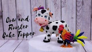 Cow and Rooster Cake Topper