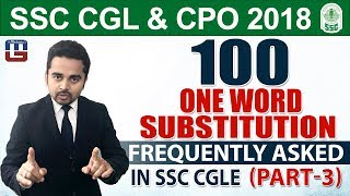 SSC CGL 2018   CPO 2018   100 One Word Substitution   Part 3    English   5:00 pm