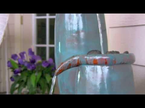 Video for Agua Blue Glaze Indoor/Outdoor Floor Fountain