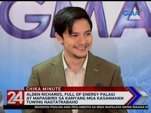 [GMA]  24 Oras: Alden Richards, full of energy palagi at mapagbiro sa kanyang mga kasamahan