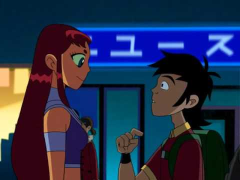 Teen Titans - trouble in Tokyo: love moments Robin and Starfire