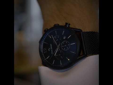 Mats Meier Grand Cornier chronograaf herenhorloge mat zwart mesh
