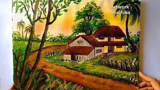 Village Scenery In Beautiful Landscape Acrylic Painting Thủ Thuật