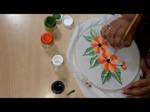 Fabric Painting Flowers And Petals On Cotton Cloth
