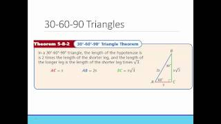 Geometry: Section 5.8- Special Right Triangles