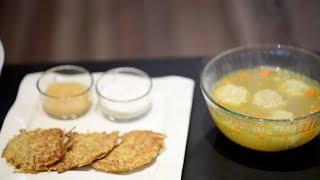 Gluten Free Matzoh Ball Soup + Potato Latkes