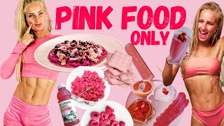 I ONLY ATE PINK FOOD FOR 24 HOURS! Fitness Challenges - Pink Food Challenge Healthy Edition.