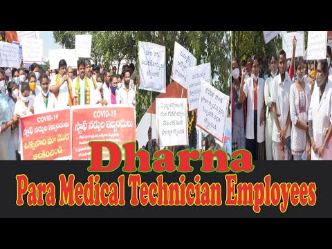 Para Medical Technician Employees Remove COVID Duties at GVMC Gandhi Statue Dharna in Visakhapatnam,Vizagvision