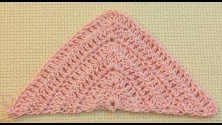 Вяжем треугольник крючком Урок 53   Knit triangle crochet