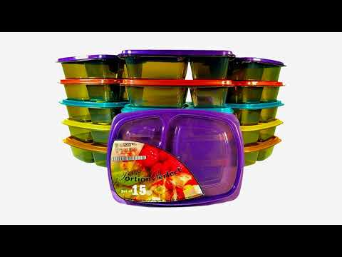 PORTION PERFECT Meal Prep Containers / Portion Control Containers / Bento Lunch Box Set...