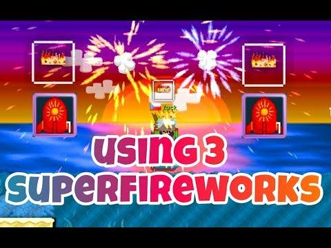 Using 3 Super Fireworks ( Got PHOENIX ! ) ( Summerfest 2017 ) | Growtopia