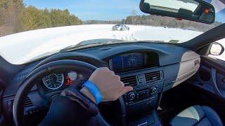 E92 BMW M3 SnowCross on Vredestein Wintrac Pro Tires - POV Winter Driving (Binaural Audio)