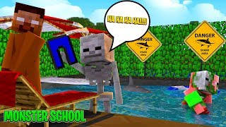 Monster School - SWIMMING CHALLENGE w/SHARKS - Minecraft Animation