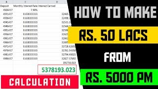 How To Make RS. 50 Lakhs from RS. 5000 PM | CALCULATION EXAMPLES | FinCalC TV