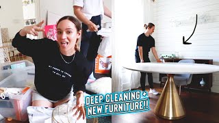 cleaning out the entire house / mailroom + new dining table!!!