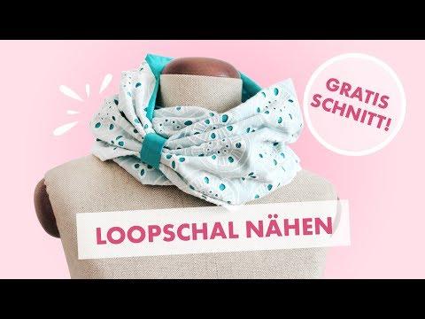 Loopschal mit Spitze und Baumwolle nähen (gratis Schnittmuster)