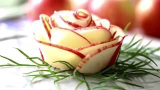 How To Make Apple Rose Flower Garnish   Food Art Garnishing Made Easy