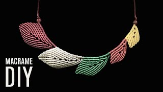 DIY Easy Macramé Leaves | Necklace Tutorial | Macrame School