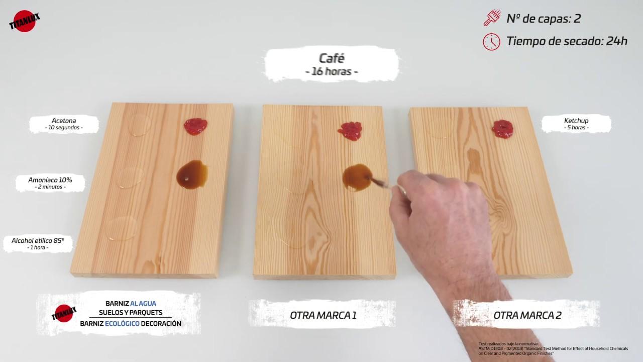 Test de resistencias químicas sobre madera barnizada – BARNIZ AL AGUA ECOLÓGICO DECORACIÓN