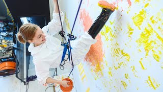 Painting a wall only using my feet