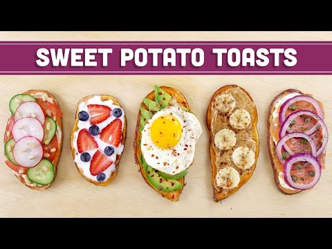 Video Healthy Sweet Potato Toast (Vegan Options) - Mind Over Munch