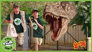 Giant T-Rex Dinosaur Escape! Dinosaurs Pretend Play At Gulliver's Adventure Park for Kids